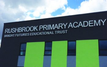 Fabricated powder coated aluminium lettering fitted to a steel beam as part our Priority Schools project.