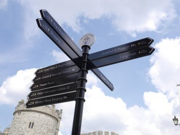 Octupus finger post signs at Windsor Castle. Posts, collars and finger pointers are powder coated and the text detail is screenprinted.